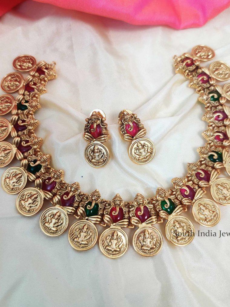 Trendy Lakshmi Ganesh Multi Stone Necklace
