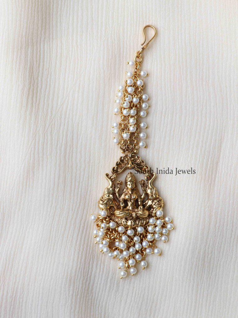 Trendy Lakshmi Pearl Cluster Maang Tikka