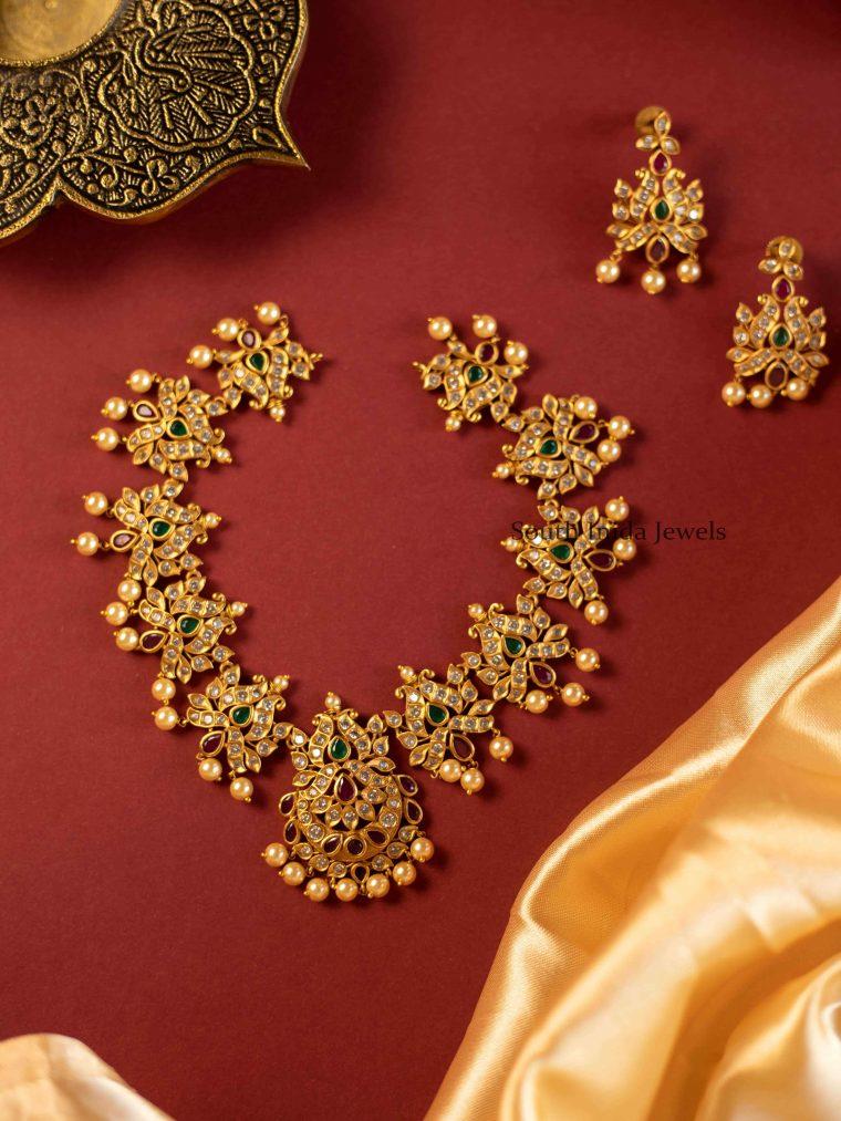 Trendy Lotus Design Multistone Necklace