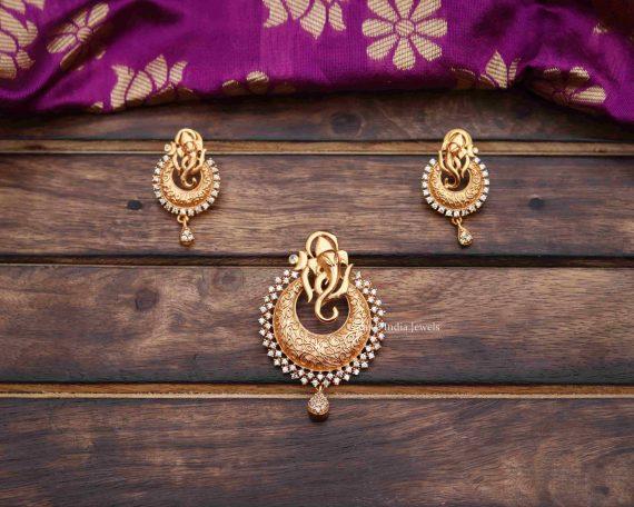 Trendy Matte Finish Ganesha Pendant & Earrings