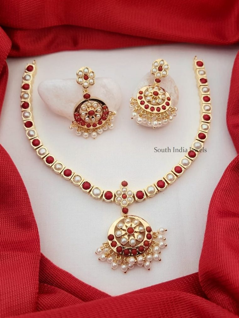 Trendy Real Pearl and Coral Attigai Necklace