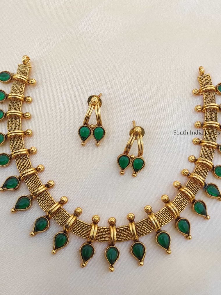 Unique Mallu Design Green Stone Necklace