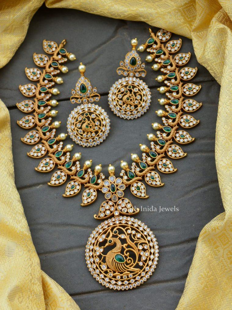 Unique Peacock & Mango Design Matte Necklace