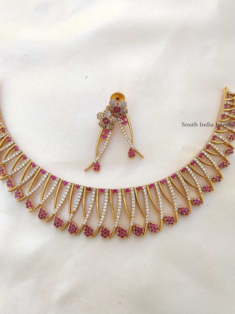 Unique Pink Mallu Design Necklace
