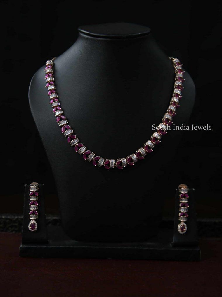 Unique Pink & White Stone Necklace