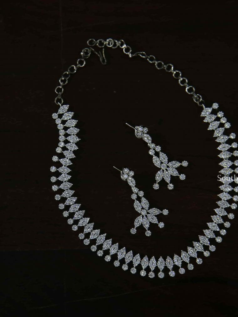 Unique Rhodium Finish Necklace