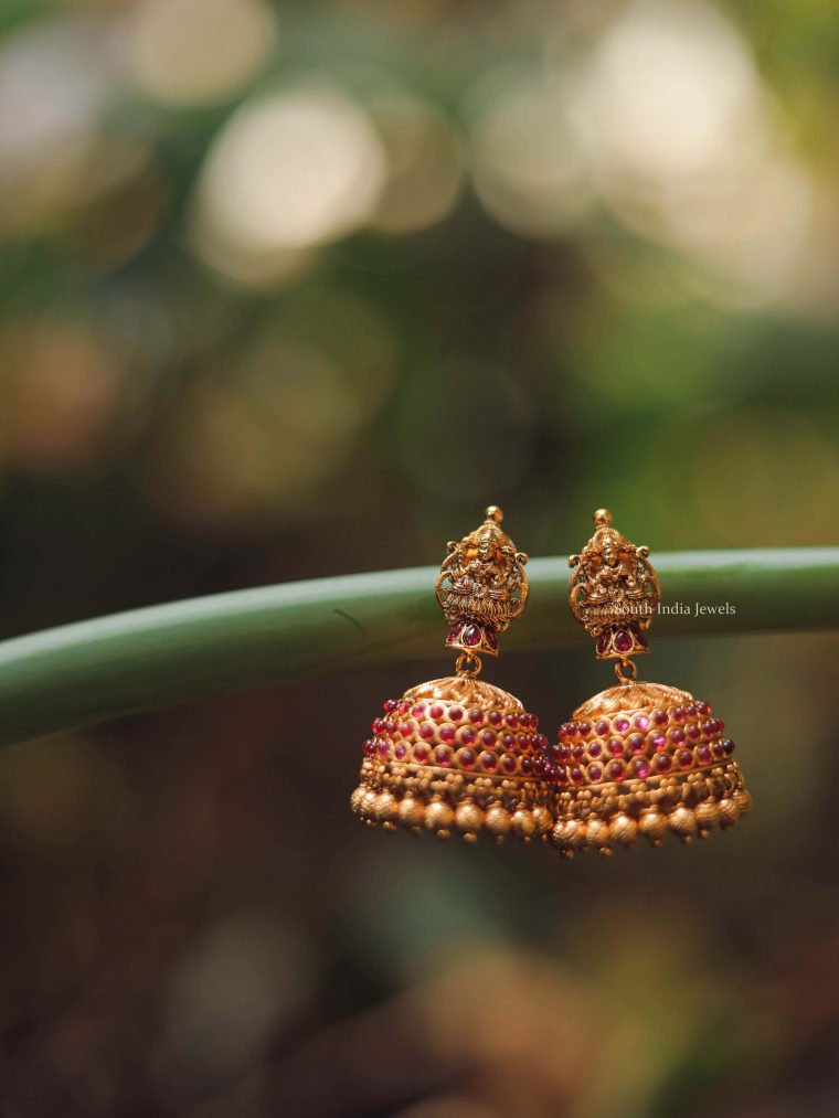 Antique Finish Temple Jhumka-01