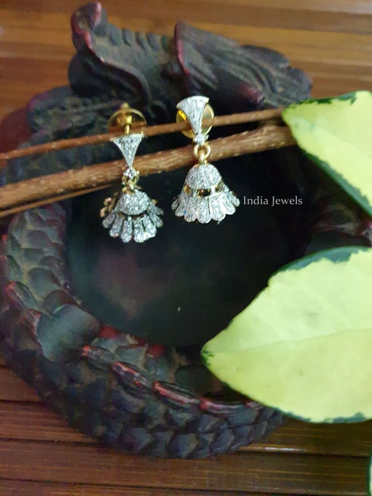 Beautiful Floral Design GJ Stone Jhumka