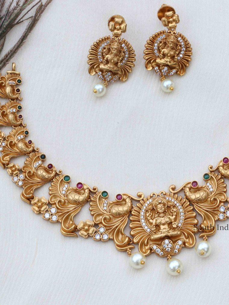 Beautiful Lakshmi Peacock Necklace