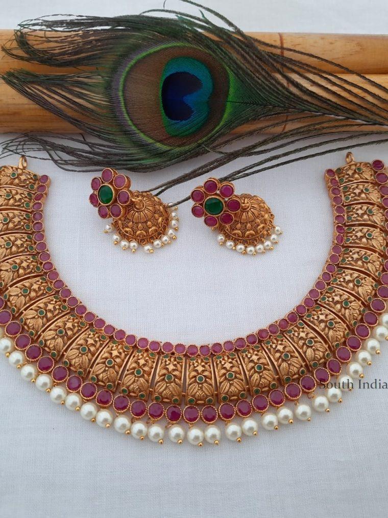 Beautiful Matte Gold Finish Necklace