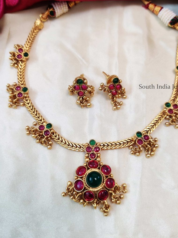 Beautiful Pink & Green Attigai Necklace