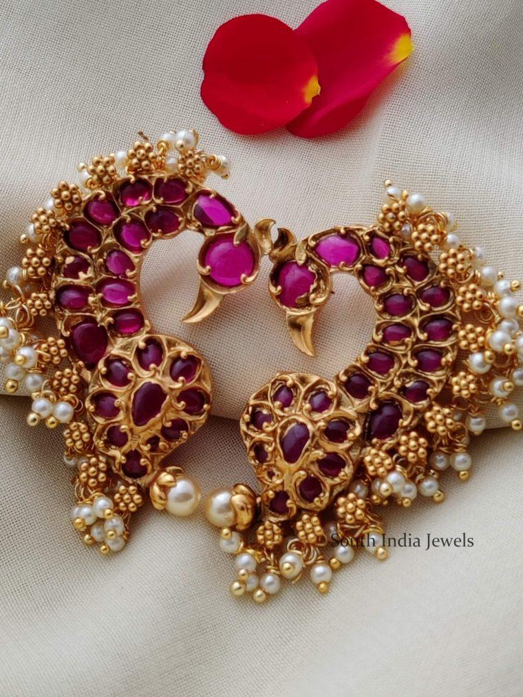 Beautiful Real Kemp Peacock Earrings