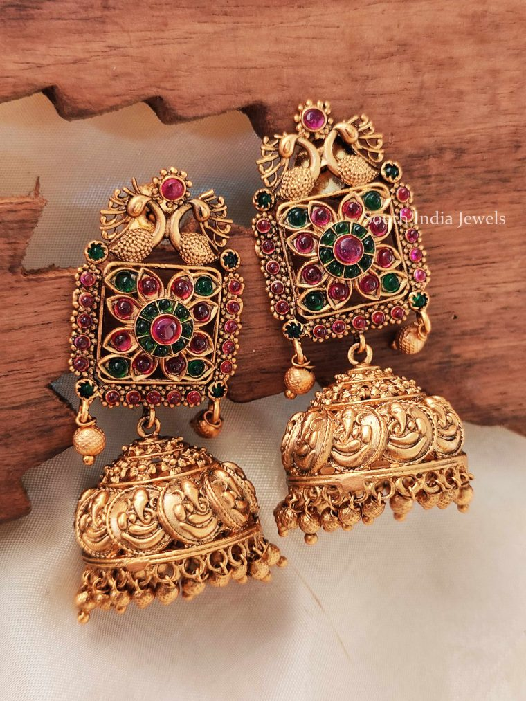 Beautiful Real Kemp Peacock and Ganesha Earrings
