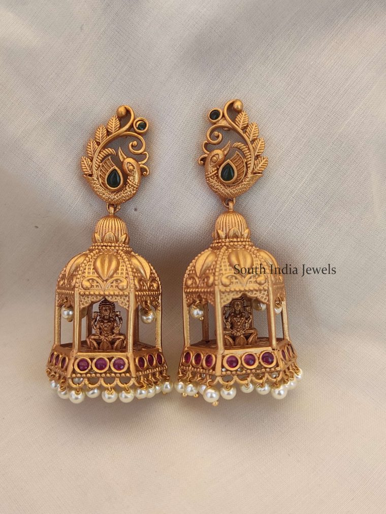 Beautiful Temple Design Long Earrings