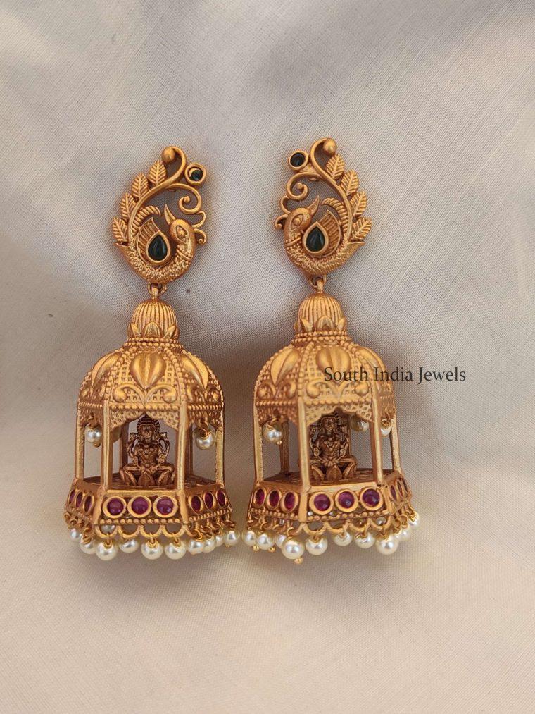 Beautiful Temple Design Long Earrings