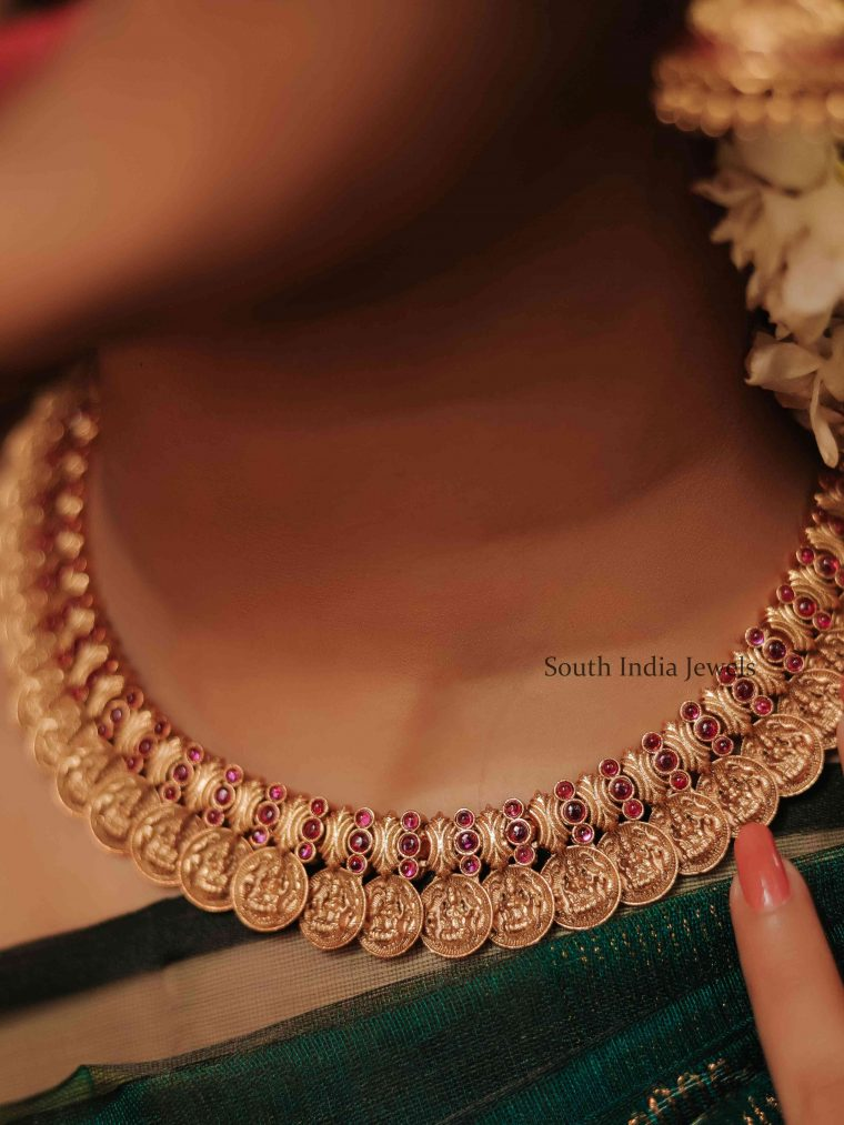 Classic Lakshmi Kasu Ruby Necklace