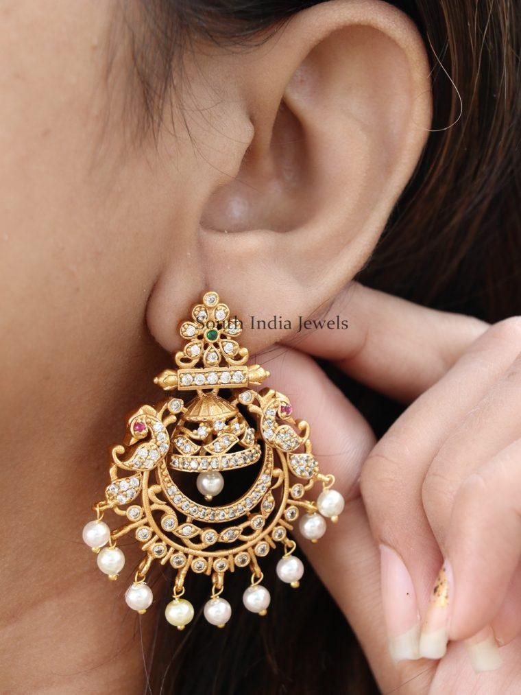 Classic Peacock Design Chandbali Earrings