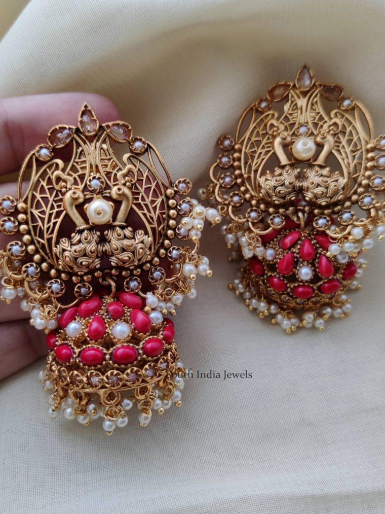 Gorgeous Dual Peacock Jhumkas (2)