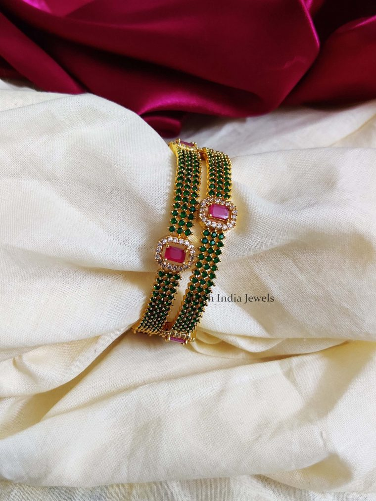 Gorgeous Green and Pink AD Bangles