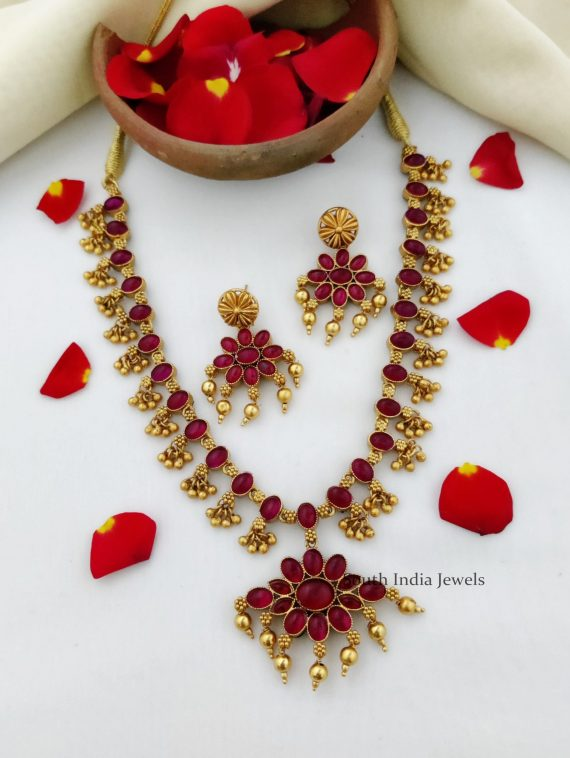 Lovely Dual Side Red & Green Stone Necklace-01