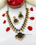 Lovely Dual Side Red & Green Stone Necklace-03