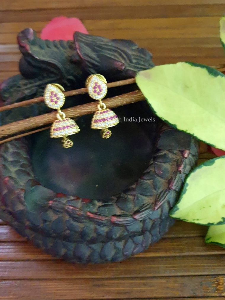 Lovely Pink and White Stone Jhumkas (2)