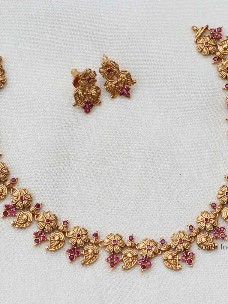 Pretty Gold Finish Ruby Necklace