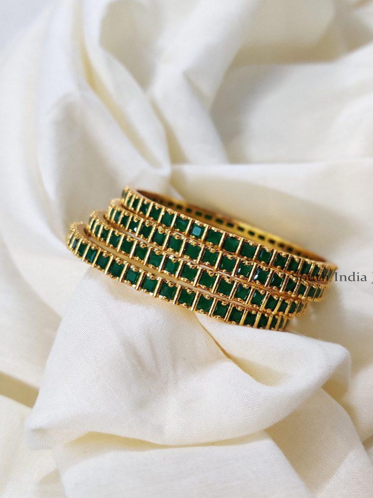 Pretty Green Stone Bangles (2)
