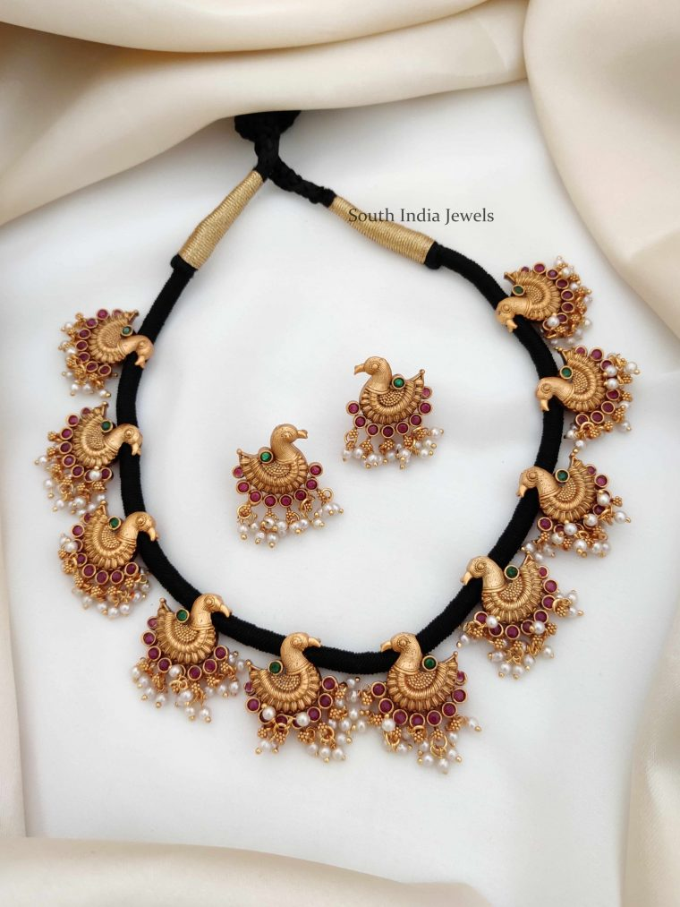 Traditional Peacock Design Thread Necklace