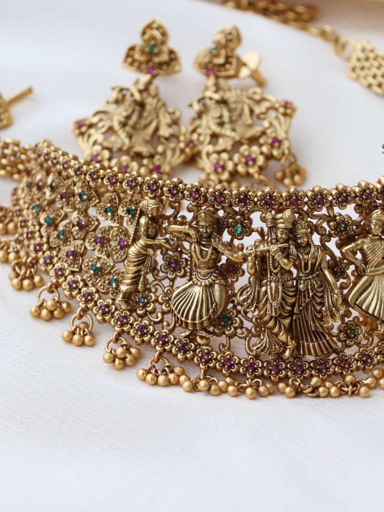 Traditional Radhe Krishna Gold Finish Choker