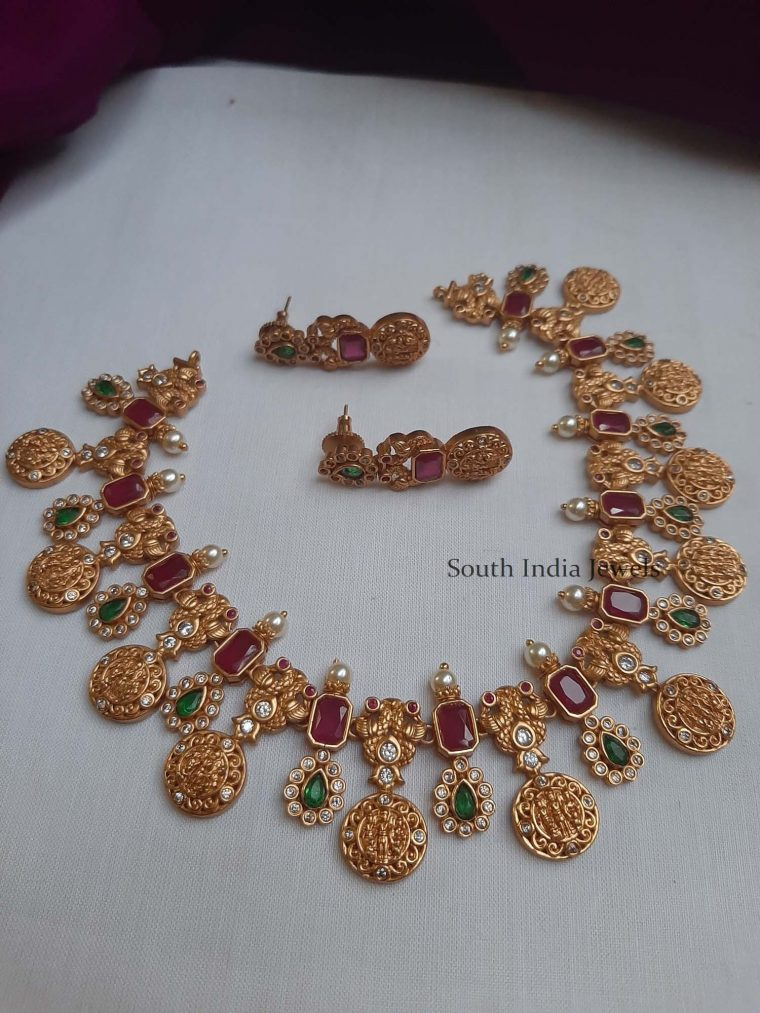 Traditional Ruby & Green Lakshmi Necklace