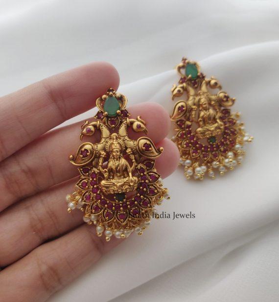 Traditional Ruby & Green Lakshmi Peacock Earrings