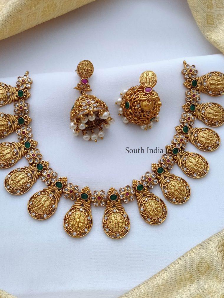 Traditional Ruby & Green Ram Parivar Necklace