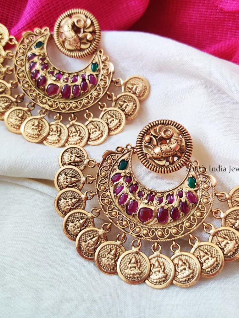 Trendy Lakshmi Coin Earrings