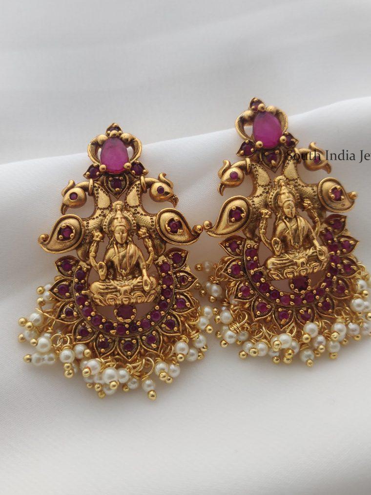 Trendy Lakshmi & Peacock Design Earrings