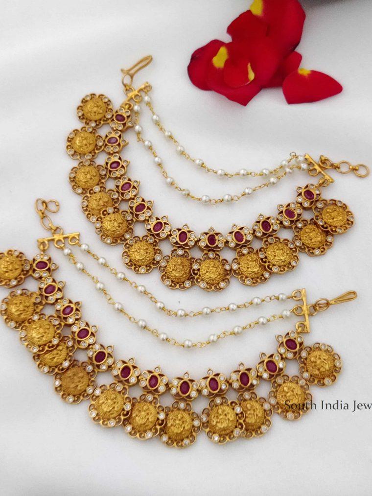 Trendy Ruby & White Stone Lakshmi Mattal