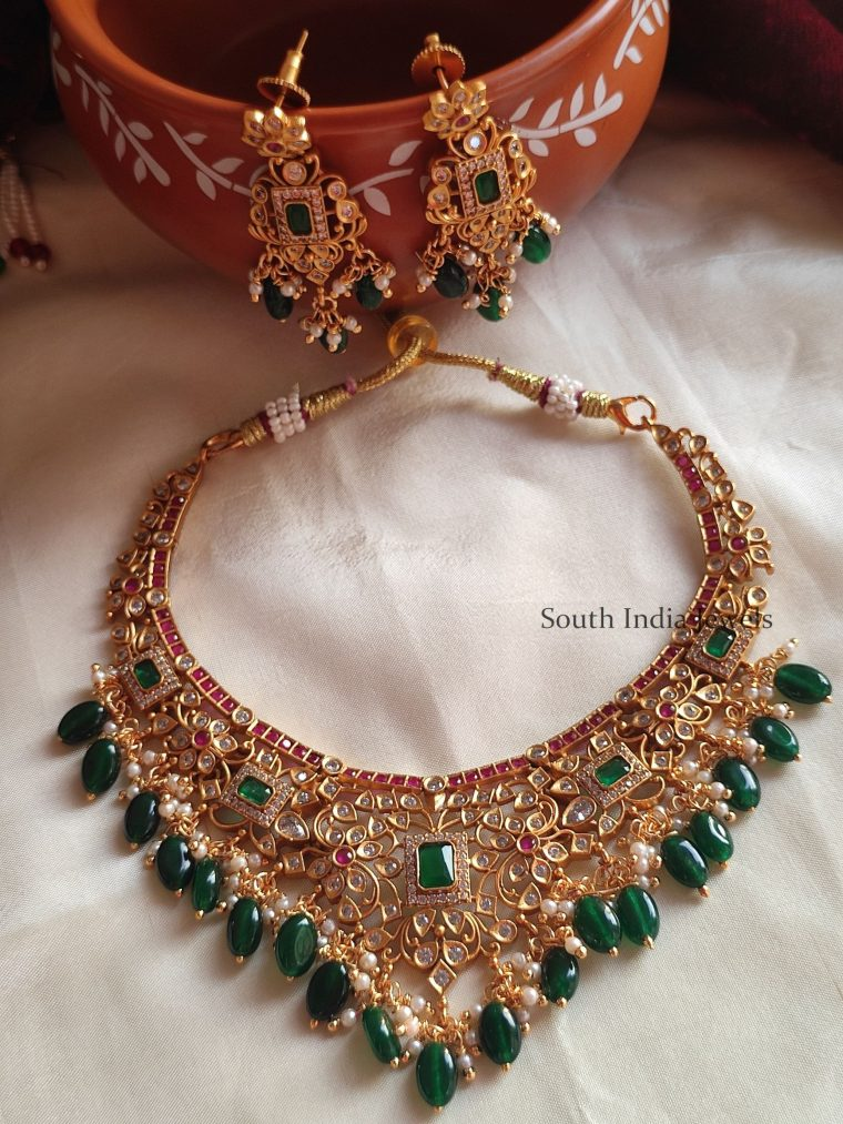 Trendy Ruby and AD Stone Necklace
