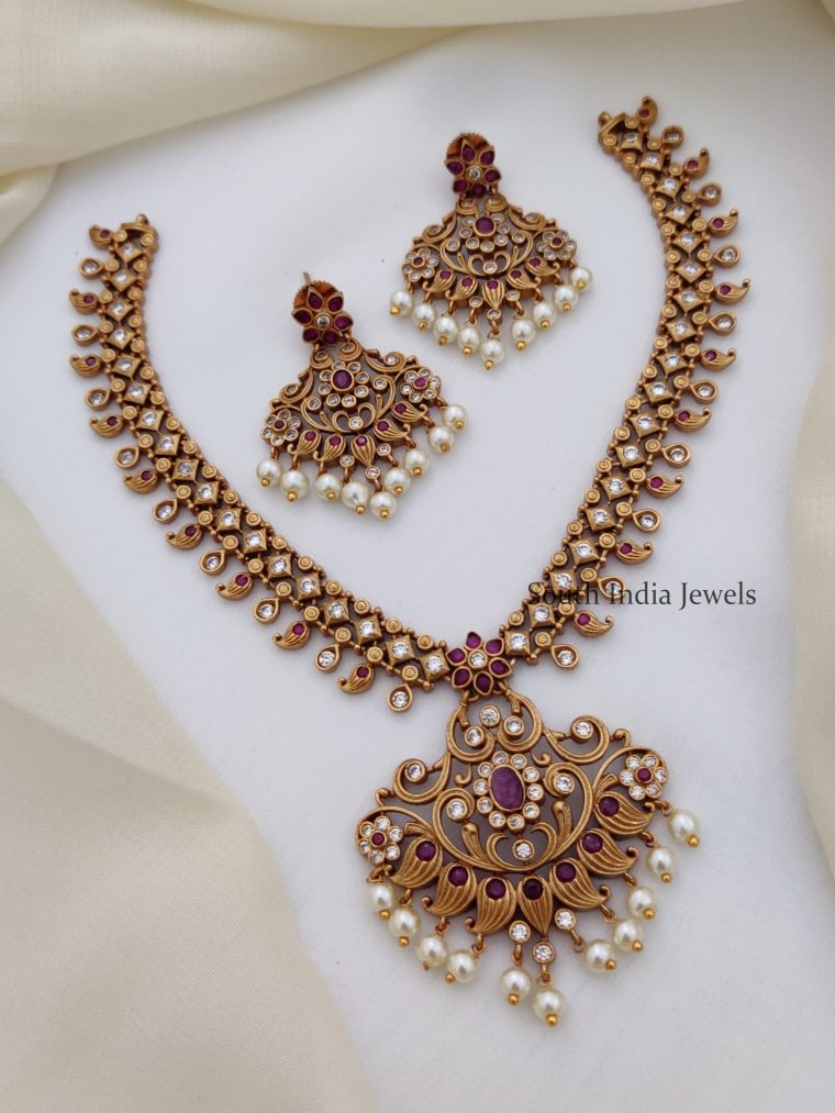 Trendy Ruby and White AD Necklace