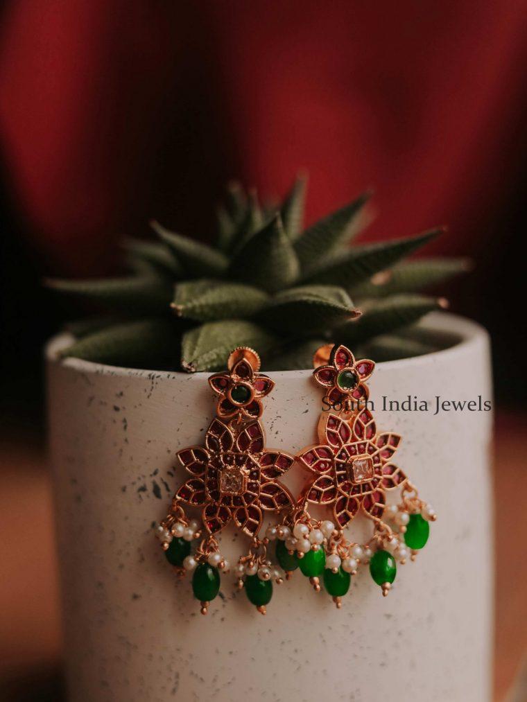 Unique Floral Kemp Stone Earrings