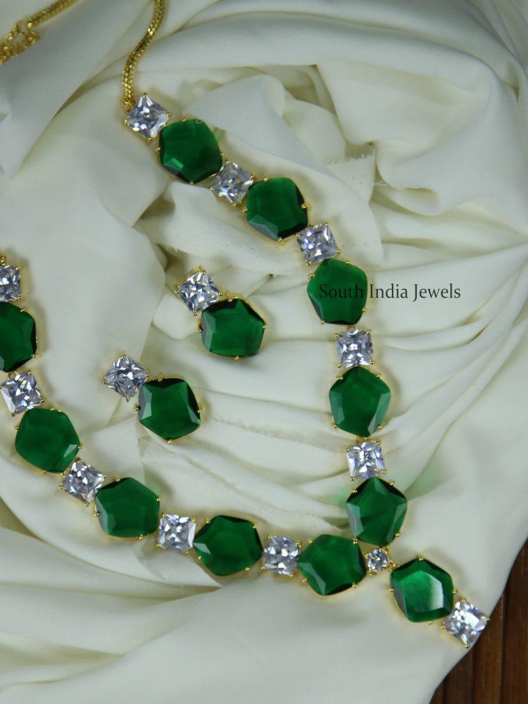 Unique Green & White Stone Necklace
