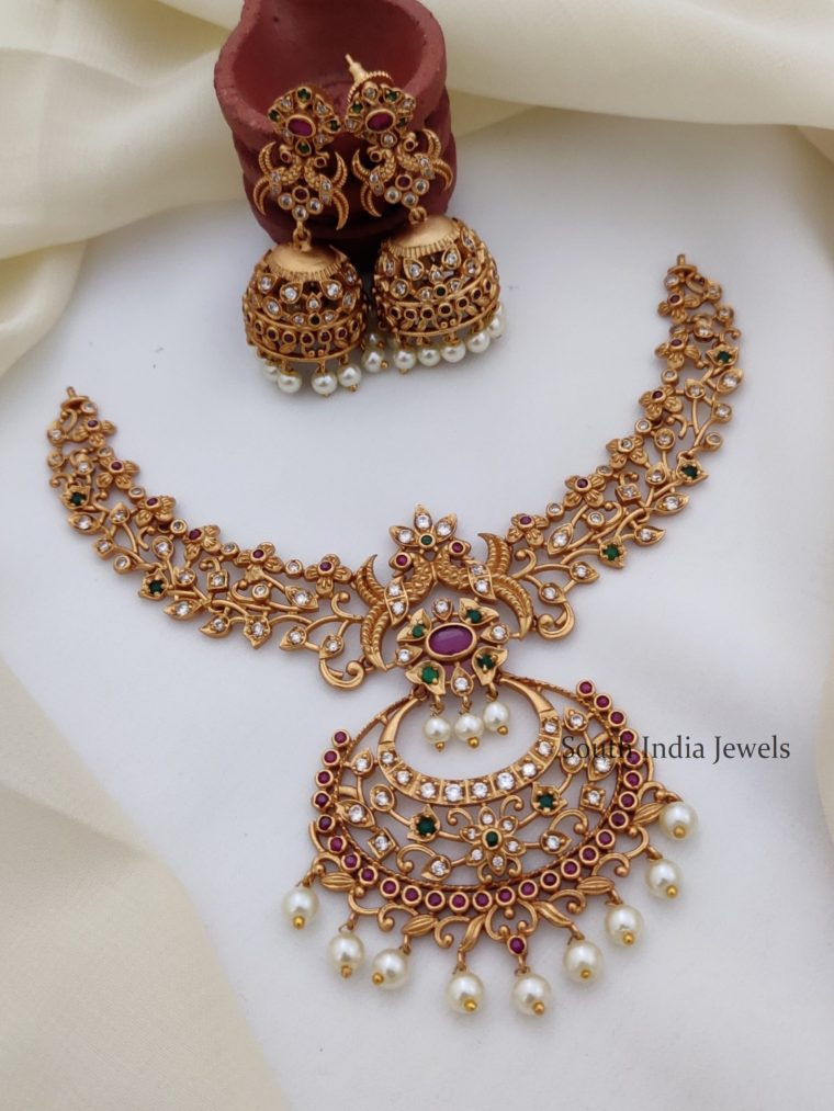 Unique Peacock Design AD Necklace