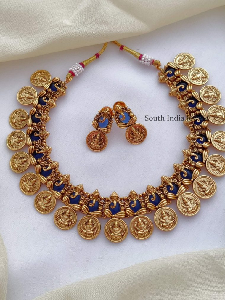 Unique Royal Blue Ganesha with Lakshmi Necklace