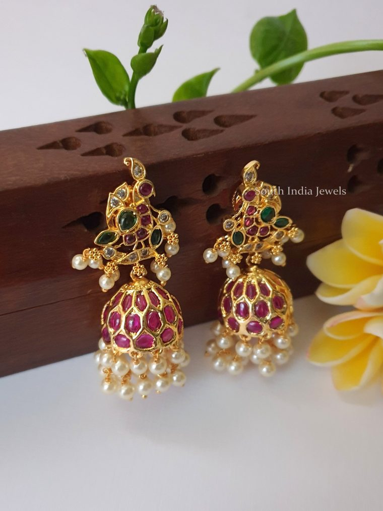 Antique Peacock Design Jhumkas