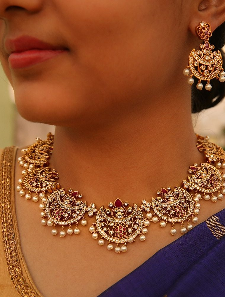 Beautiful Chand CZ Pearl Necklace
