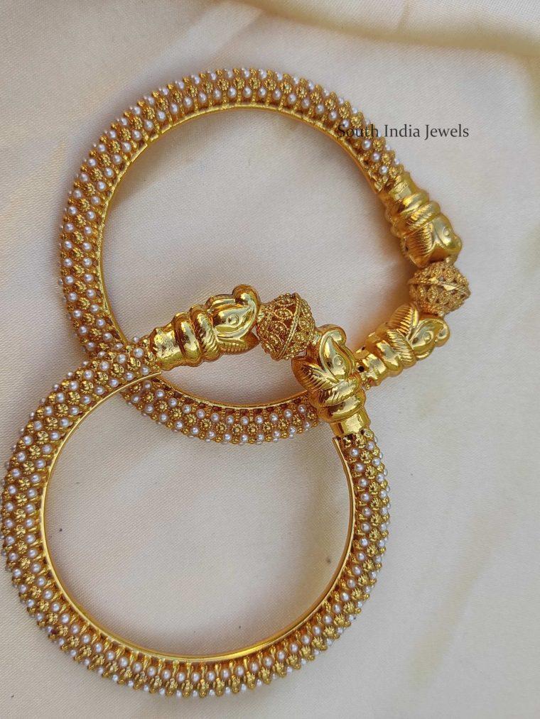 Beautiful Elephant Design Pearl Kada Bangle