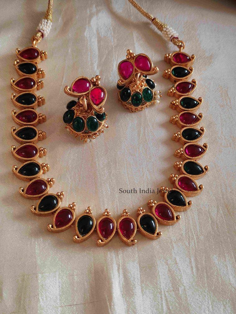 Beautiful Kemp Mango Design Necklace