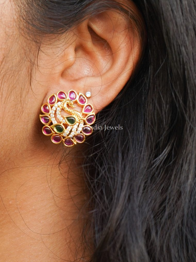 Beautiful Peacock Design Ruby Ear Studs