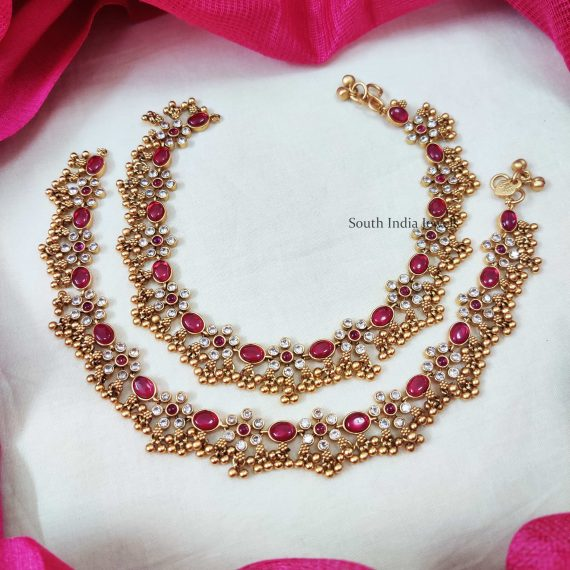 Beautiful Pink & White Stone Anklets