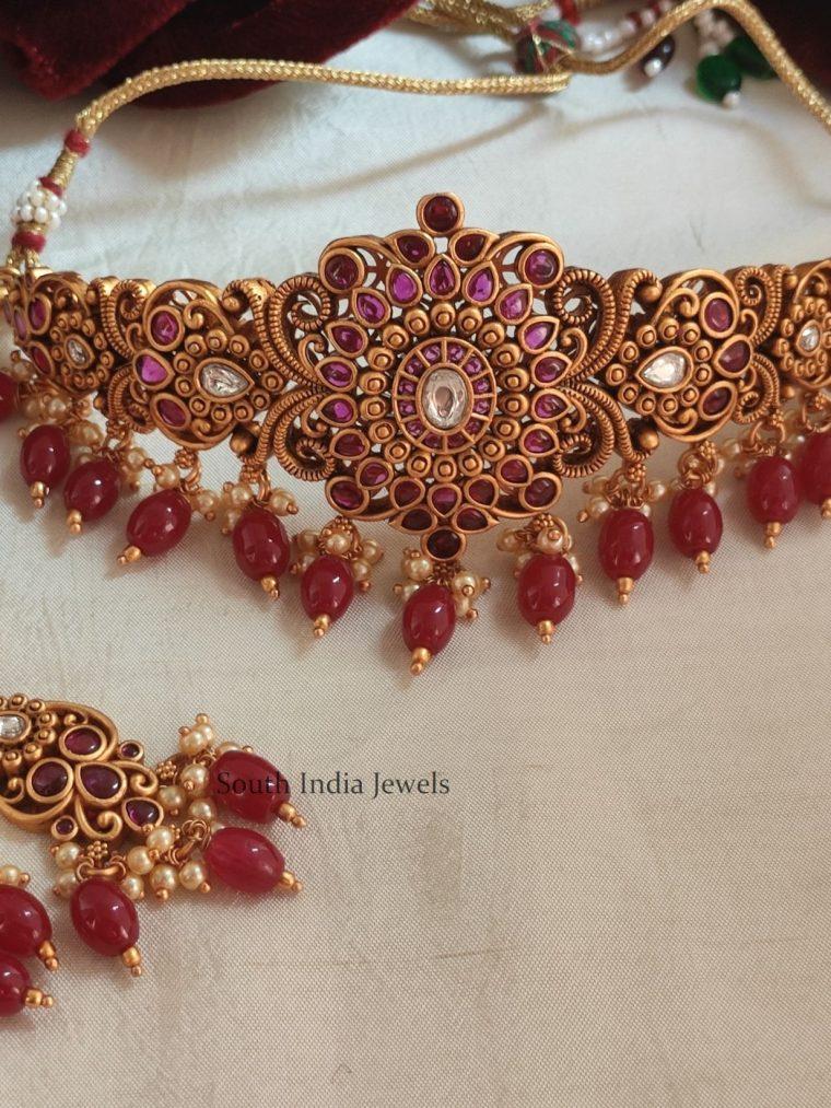 Bridal Kemp Stone & Beads Choker (2)