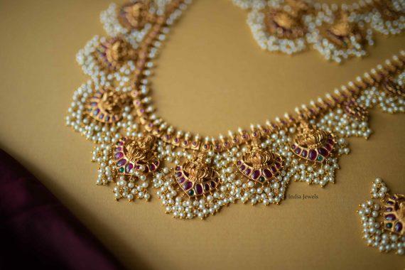 Bridal Lakshmi Guttapusalu Necklace and Haram (2)